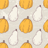 Hand drawn halloween seamless pattern with white and orange