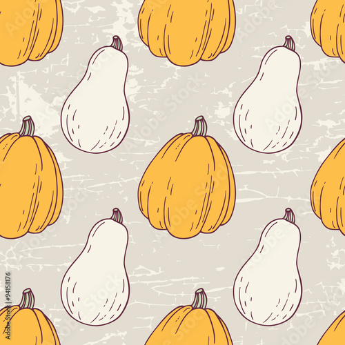 Hand drawn halloween seamless pattern with white and orange - 94158176