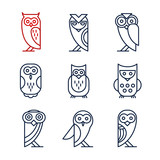 Set of Owl Design Elements in Linear Style