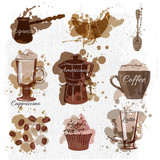 Fototapety coffee, latte, espresso,coffee bean,cake, cup, pot