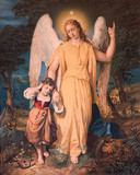 Guardian angel with the child. Typical catholic image