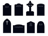 set of six vector silhouettes of gravestones of different shapes with ornament and text