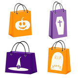 vector set of four Halloween paper bags with Halloween symbols