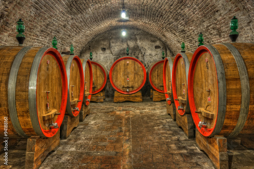 Fototapety, obrazy : Cellar with barrels of wine