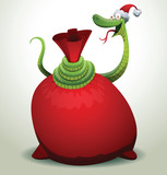 Vector Santa snake covers a red bag. Cartoon image of Santa-snake green color in the red hat covers a red bag on a light background.