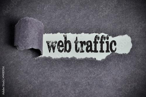 web traffic word under torn black sugar paper Poster