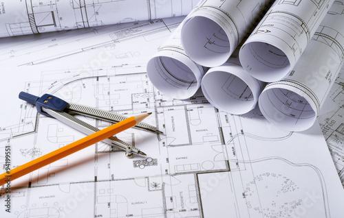 Fridge magnet Architecture plans with compass