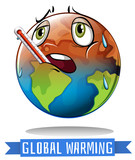 Global warming sign with earth melting