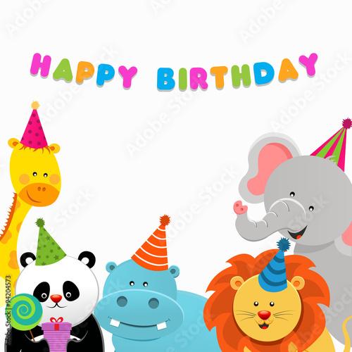 Zdjęcia na płótnie, fototapety, obrazy : Happy Birthday Animals Card