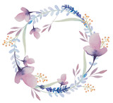 Fototapety watercolor floral frame. Flowers in wreath.
