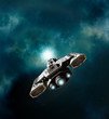 Постер, плакат: Spaceship Entering a Wormhole in Deep Space science fiction illustration