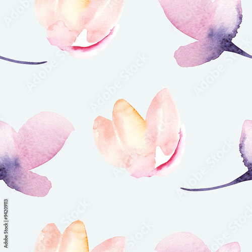 Seamless wallpaper with stylized flowers, watercolor illustratio - 94209113
