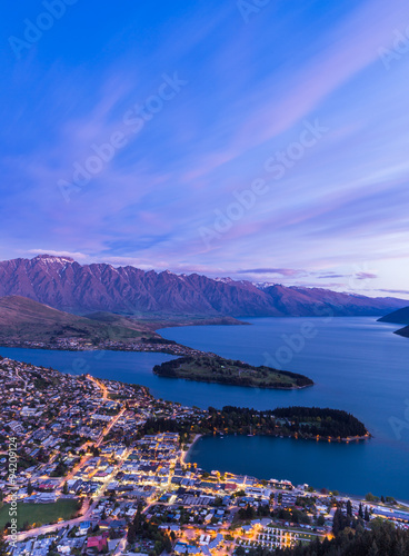 Queenstown aerial view at twilight. Poster