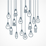 Light bulb hanging on cords - lamps