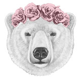 Portrait of Polar Bear with floral head wreath. Hand drawn illustration.