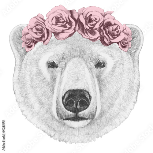 Portrait of Polar Bear with floral head wreath. Hand drawn illustration. - 94235175