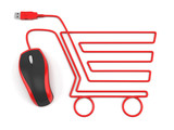 E-commerce concept - shopping cart with mouse