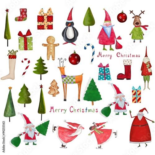 Zdjęcia na płótnie, fototapety, obrazy : Christmas decorative items over white. Mega set