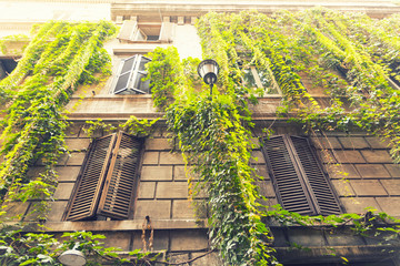 beautiful building in old part of Rome, Italy © lukaszimilena