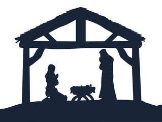 Christian Nativity Christmas Scene Silhouettes