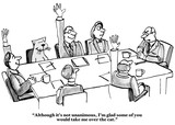 Business cartoon showing people in a meeting, including a cat.  Boss says,
