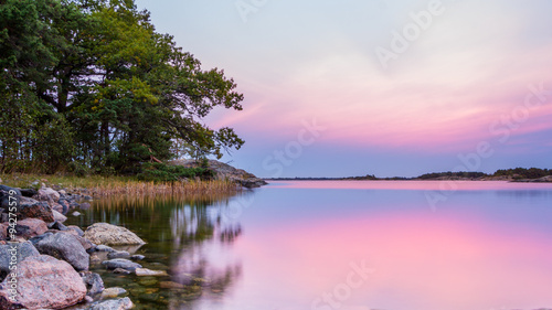 Fototapeta View from the rocky coast of Sweden during sunset