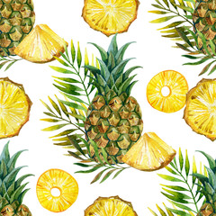 watercolor pineapple seamless pattern