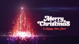 Merry Christmas and Happy New Year Greeting intro card template. Christmas tree made of particles. Creative luxury motion design.