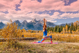 Practicing Yoga in the Tetons in Fall