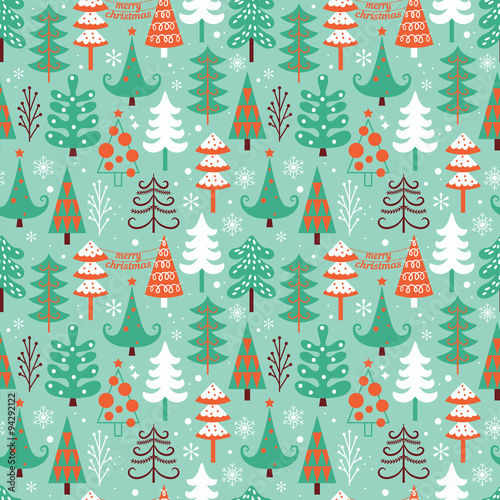 Cotton fabric Christmas seamless pattern design with decorative trees. Vector