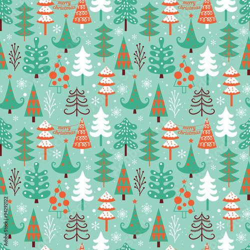 Materiał do szycia Christmas seamless pattern design with decorative trees. Vector