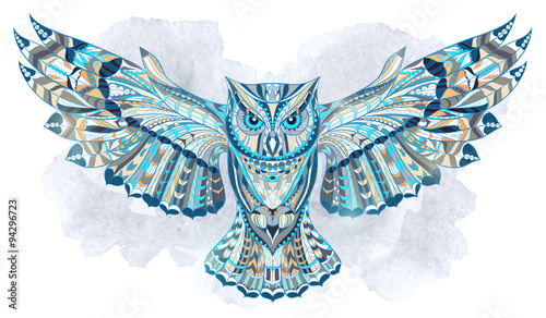 Patterned owl on the grunge watercolor background. African / indian / totem / tattoo design. It may be used for design of a t-shirt, bag, postcard, a poster and so on. - 94296723