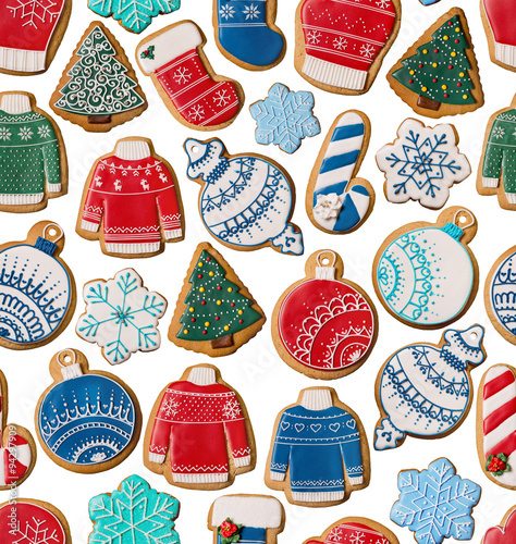 Materiał do szycia Seamless texture with Christmas gingerbread cookies