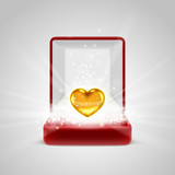 Gift box and gold heart in radiance poster