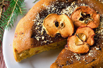 Apple cake with dry fruits, Christmas decoration