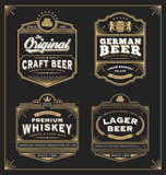 Fototapety Vintage frame design for labels, banner, sticker and other design. Suitable for whiskey, beer and premium product. All type use free font.