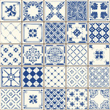 Indigo Blue Lisbon Paint Tile Floor Oriental Spain Azuejos Ornament Collection Seamless Patchwork Pattern Colorful Portugal Ceramic Tilework Vintage Illustration background Vector Pattern Azulejo - 94317174