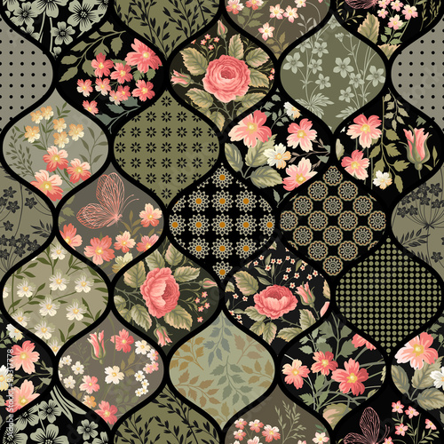 Cotton fabric seamless floral patchwork pattern