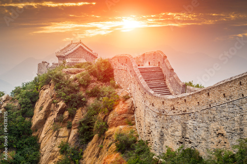 Poster, Tablou Great wall under sunshine during sunset,in Beijing, China