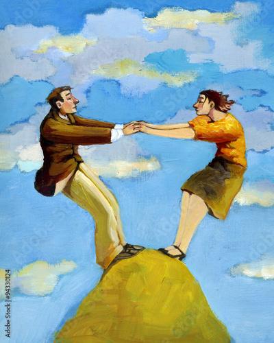 Obraz na płótnie Para na górze