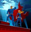 Superhero Couple. Male and female superheroes