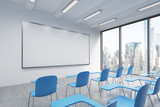 Fototapety A classroom or presentation room in a modern university or fancy office. Blue chairs, a whiteboard on the wall and panoramic windows with New York view. 3D rendering.
