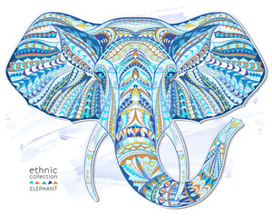 Ethnic patterned head of elephant on the grange background/ african / indian / totem / tattoo design. Use for print, posters, t-shirts.