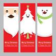 Obrazy na płótnie, fototapety, zdjęcia, fotoobrazy drukowane : Santa Claus, Tree, Snowman Banner, Merry Christmas and Happy New year