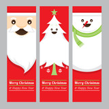 Santa Claus, Tree, Snowman Banner, Merry Christmas and Happy New year