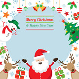 Christmas Characters Frame, Santa Claus, Snowman, Tree, Reindeer