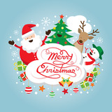 Santa Claus, Snowman, Reindeer and Tree Characters, Label, Merry Christmas and Happy New year