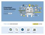 Fototapety Online education flat line banner