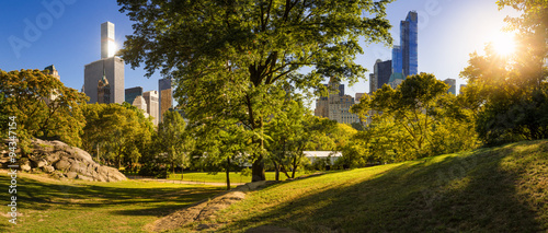 Central Park summer afternoon panorama with Midtown Manhattan skyscrapers in the heart of New York City.