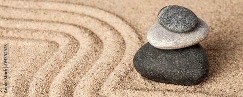 Foto op Canvas Stenen in het Zand Japanese Zen stone garden